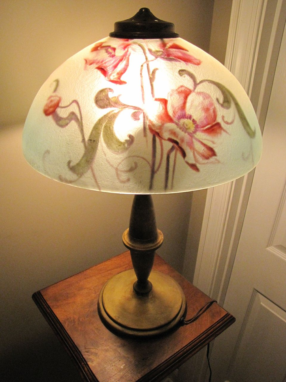 Brass lamp with reverse painted shade from rubylane sold for Painting light shades
