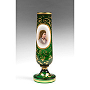 19th C. Bohemian Green Glass Portrait Vase
