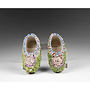 Pair of Floral Encrusted German Porcelain Elfinware Dutch Shoes