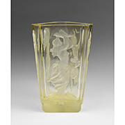 Czech Yellow Intaglio Cut Vase