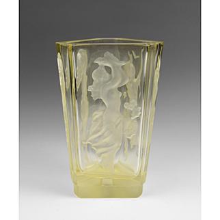 Czech Yellow Intaglio Cut Vase