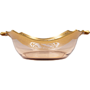 Pink Depression Glass Basket or Bowl With Figured Gilt Rim