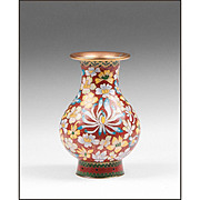 Mid 20th C. Chinese Cloisonne Vase, Floral Decoration On Iron Red Ground