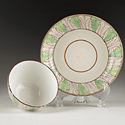 Early 19th C. Leaf & Twig Enameled English Tea Bowl & Saucer