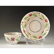 Early 19th C. Floral Enameled English Tea Bowl & Saucer