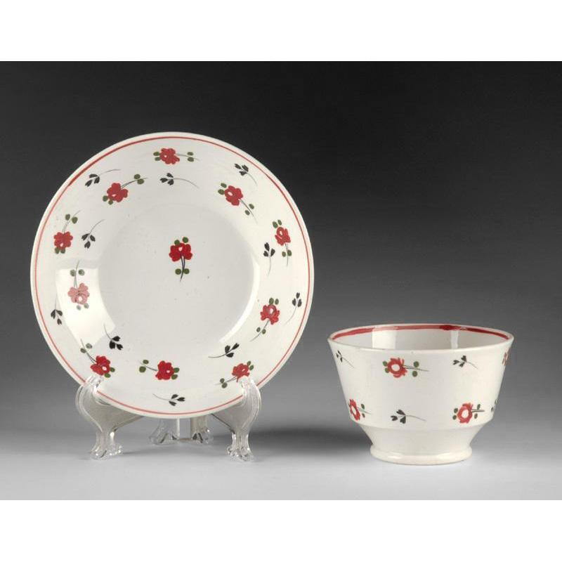 Sprig Enameled Decorated English Tea Bowl & Saucer