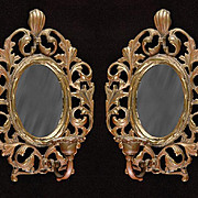 Pair of Pierced Cast Brass Mirrored Wall Sconces