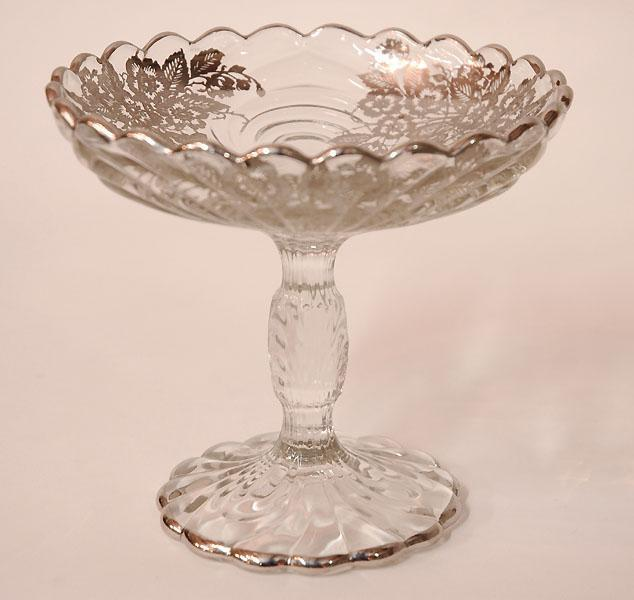 Silver Overlay Glass Compote On Stem