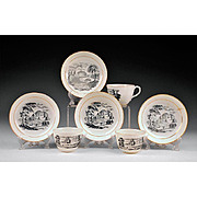 Assembled 7-pc. Set of Charcoal & White Bat Printed Tea Wares, 1800-20