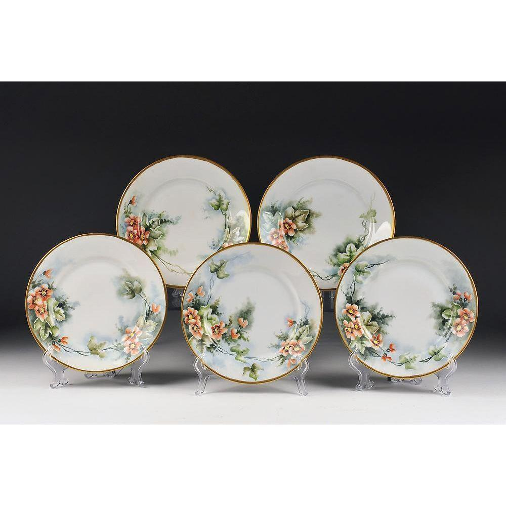 Set of Five C. Tielsch Porcelain Hand Painted Dessert Plates