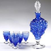 Venetian Glass Grape Cluster Wine Decanter and Glasses