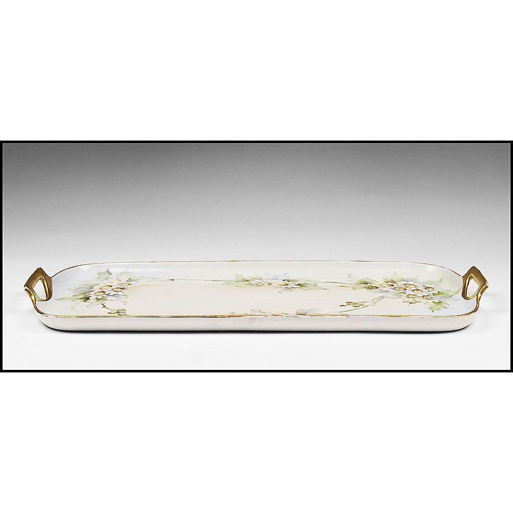 Early 20th C. Hand Painted Czechoslovakian Porcelain Vanity Tray