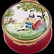 1970 – 1979 Bilston And Battersea Halcyon Days Enamel Anniversary Box