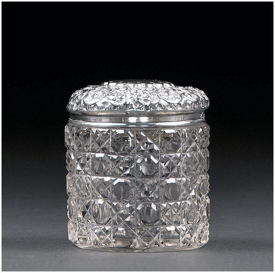 English Cut Glass Dresser Jar With Sterling Repousse Top