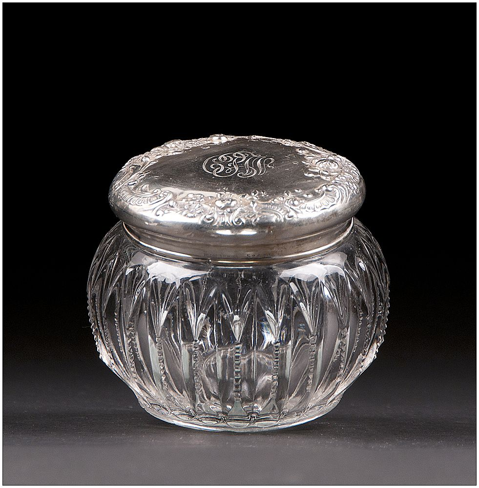 Late 19th C. Cut Glass Powder Jar With Gorham Sterling Lid