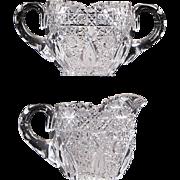 American Brilliant Period Cut Glass Sugar Bowl and Creamer