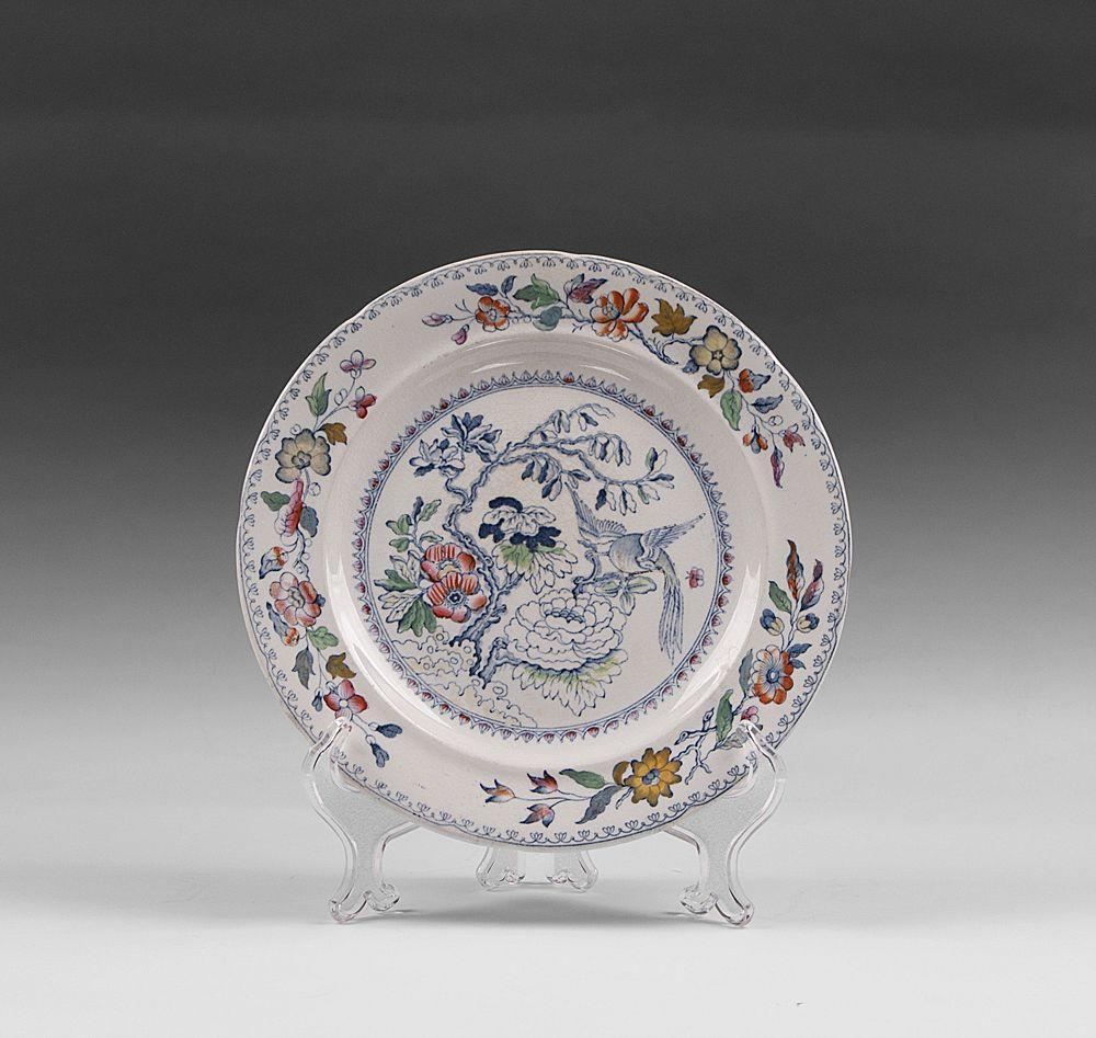 Masons India Grasshopper Blue With Color Luncheon Plate