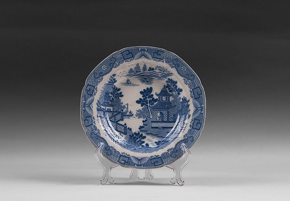 1800-10 Davenport Chinoiserie Bridgeless Blue & White Transferware Bowl