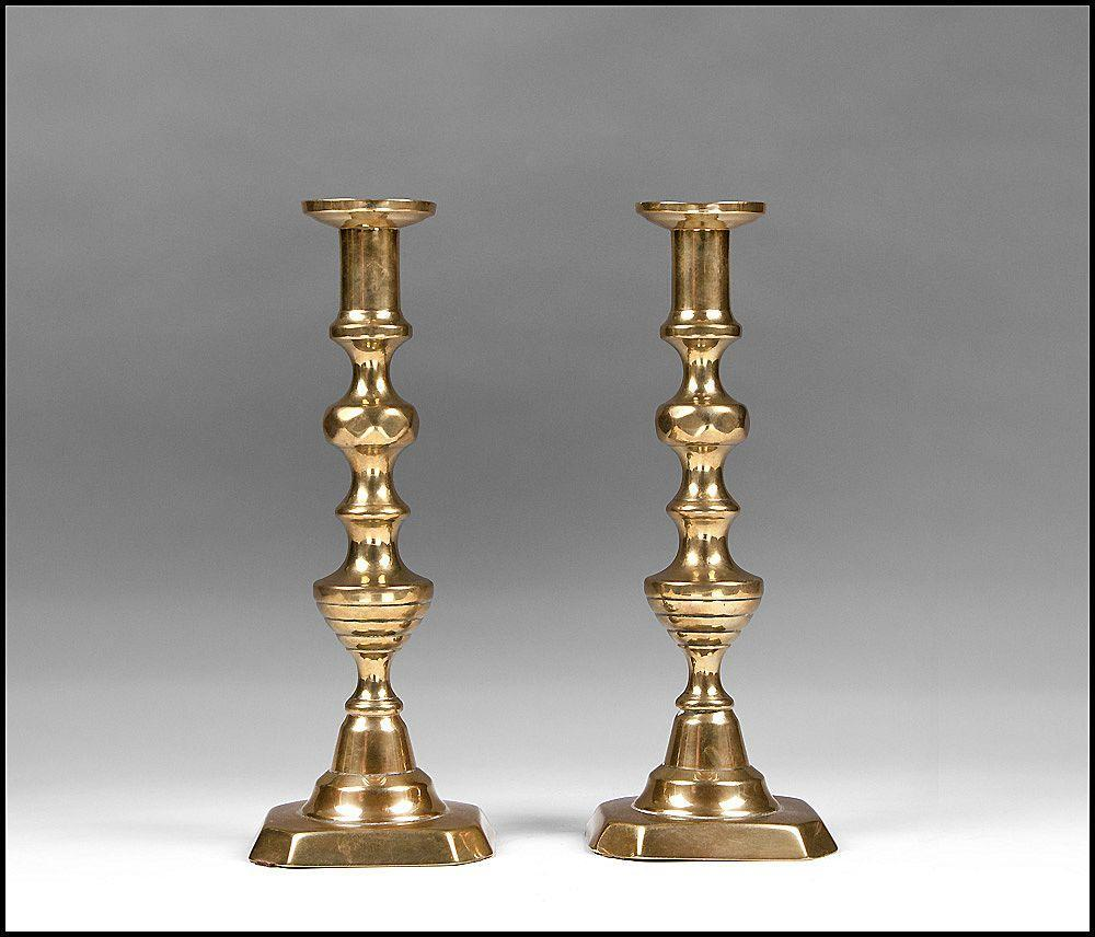 Pr. Of 19th C. Beehive Brass Push Up Candlesticks
