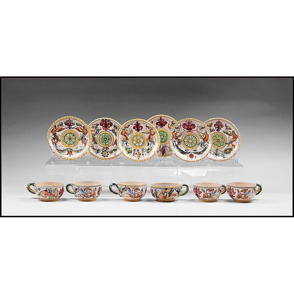 Set Of Six Raffaellesco Style Fratelli Fanciullacci Cups & Saucers