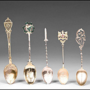 Set of Five Vintage Souvenir Spoons