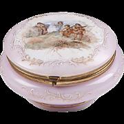 Pink Opaline Glass Wavecrest Style Dresser Box