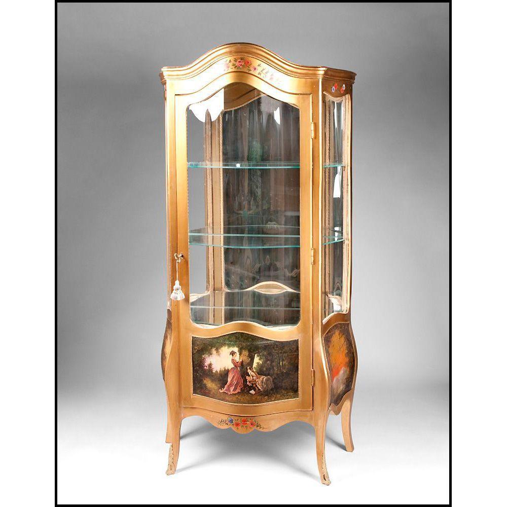 19th C. Vernis Martin Style Vitrine Cabinet