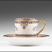 """Demitasse Cup & Saucer, Haviland, """"Oriental"""" Pattern"""