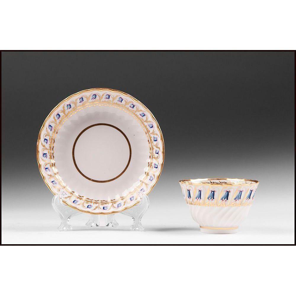 18th C. Derby, Duesbury Period, Soft Paste Porcelain Cup & Saucer