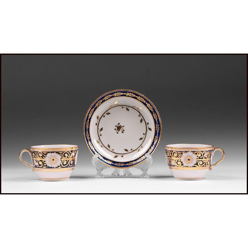 Pair of Early 19th C. Spode Porcelain Coffee Cups And Single Saucer