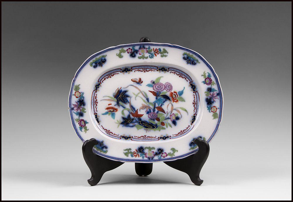 19th C. Flow Blue Staffordshire Polychrome Platter