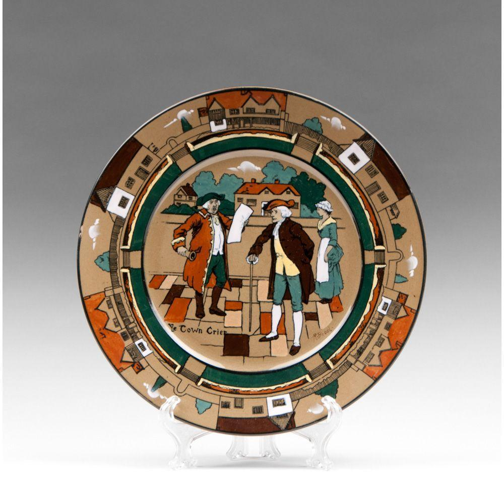 Deldare Ware Buffalo Pottery Plate, Ye Town Crier