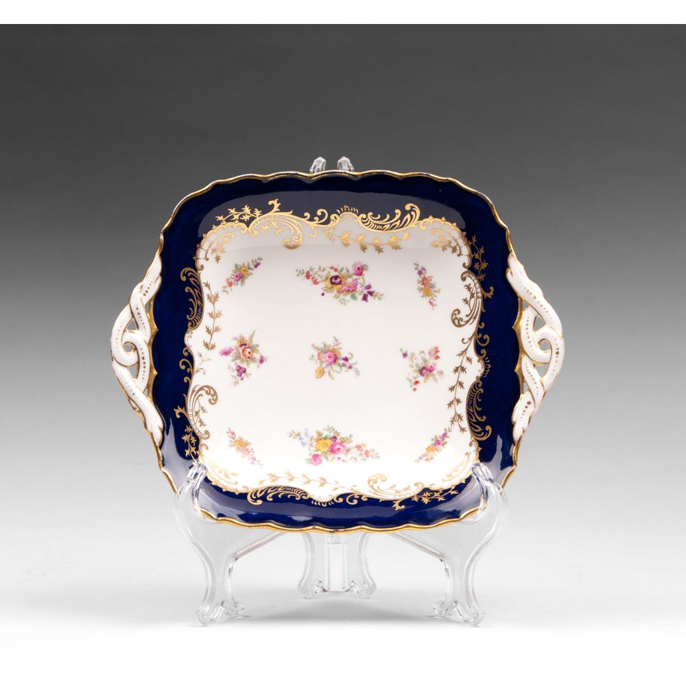 Coalport Square Bowl With Pierced Handles, 1881 – 1939