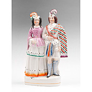 Staffordshire Figure Of Scottish Highland Couple In Formal Dress, 1860