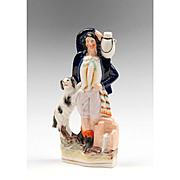 Staffordshire Figure Of Water Carrier With Spaniel, 1860