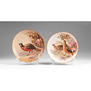 Pair of Limoges Handpainted Flambeau Hanging Game Bird Plates