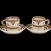 Pair Haviland Limoges Demitasse Cups & Saucers, Oriental Pattern 509