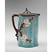 Victorian Majolica Syrup Pitcher With Tin Lid