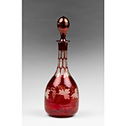 Late 19th C. Bohemian Ruby Glass Etched Wine Decanter