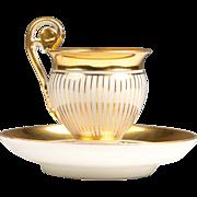 19th C. Vieux Paris Porcelain Empire Style Cup & Saucer