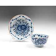 18th C. English Blue & White Tea Bowl & Saucer, Oriental Pattern
