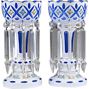Pair of Royal Blue and White Overlay Bohemian Style Glass Lustres