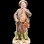 Vintage Porcelain Hand Painted Figurine Of Hunter