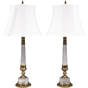 Pair of Mid Century Crystal Column Lamps Mounted In Brass