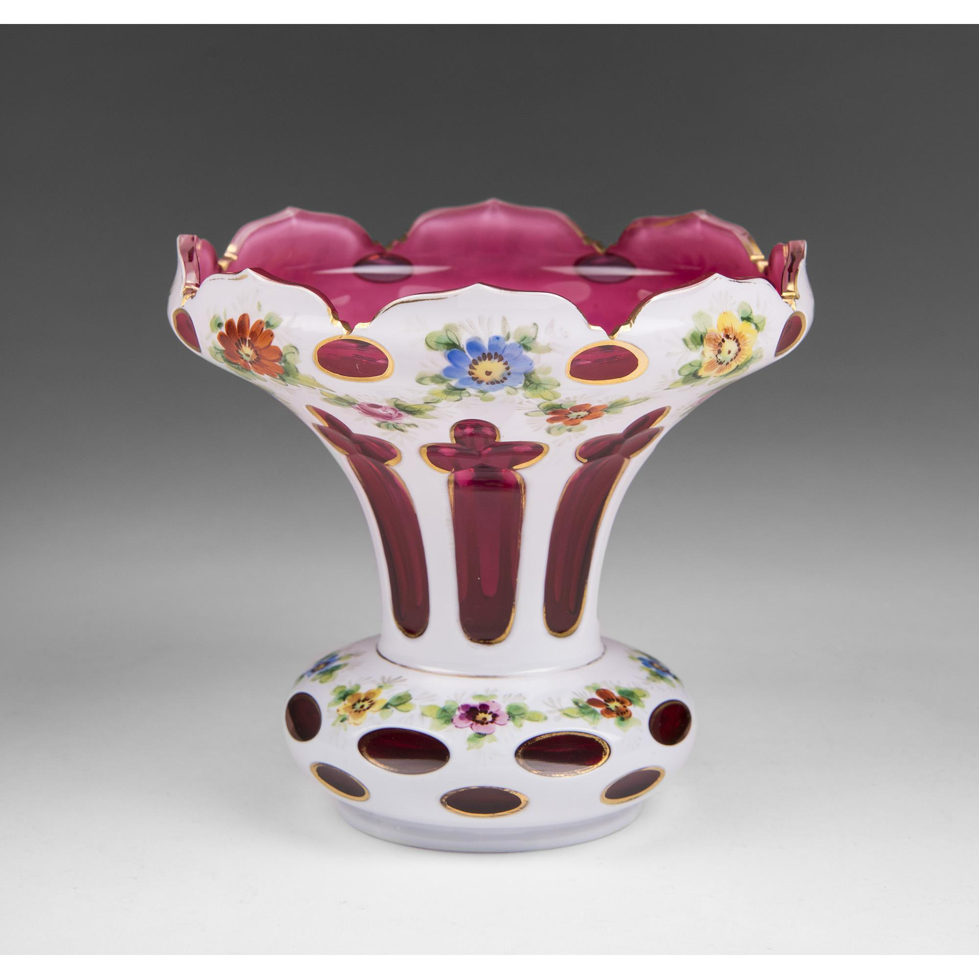 Bohemian Cut Opaline Overlay To Cranberry Glass Vase from ... Opaline Ruffled Glass Pink Vase