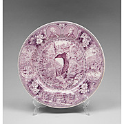 Purple Staffordshire Transfer Ware Souvenir Plate For Natural Bridge Of Virginia
