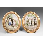 Pair of Vintage Porcelain Bisque Framed Plaque Of Jack and Jill