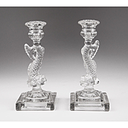 Pair of Molded Clear Glass Dolphin Candlesticks