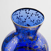 Cobalt Blue Silver Overlay Vase