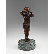 Crying Baby In Bronze Perched On Marble Pedestal